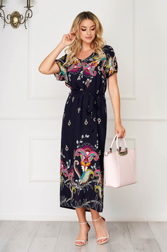 StarShinerS darkblue dress midi daily flared airy fabric