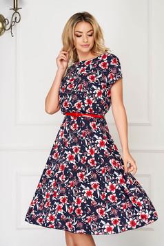 StarShinerS darkblue dress midi daily cloche thin fabric short sleeves