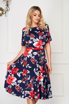 StarShinerS darkblue dress midi daily cloche thin fabric short sleeves