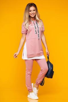 Trening dama SunShine roz prafuit casual din doua piese din bumbac cu pantalon