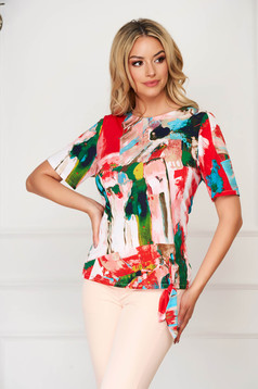 Bluza dama StarShinerS rosie eleganta cu croi larg din material vaporos