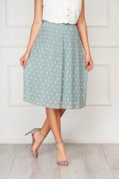 Mint skirt casual midi high waisted folded up dots print