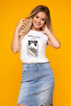 Silver t-shirt casual flared cotton with padded shoulders