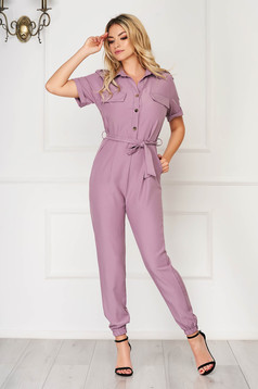 Lila jumpsuit casual long short sleeves thin fabric