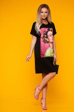 Black dress casual short cut cotton with graphic details