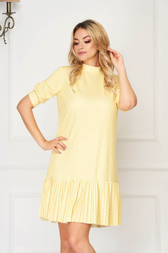 Yellow dress short cut daily flared thin fabric dots print