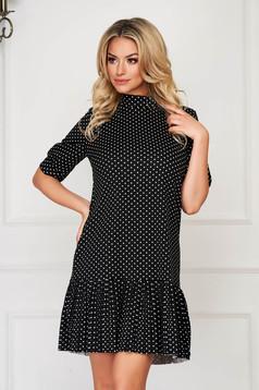 Black dress short cut daily flared thin fabric dots print