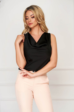 Top SunShine negru elegant cu croi larg din material satinat