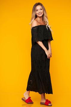 Black dress daily long off-shoulder cloche cotton