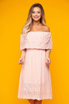 Pink dress daily short cut off-shoulder nonelastic cotton
