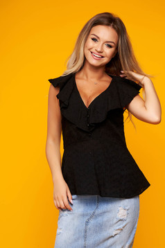 Black women`s blouse casual cotton with ruffles on the chest with v-neckline