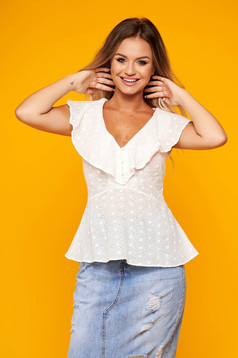 White women`s blouse casual cotton with ruffles on the chest with v-neckline