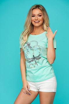 Turquoise t-shirt casual flared short sleeve with sequin embellished details