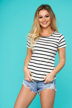 Black t-shirt casual from elastic fabric with stripes