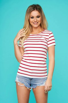 Red t-shirt casual from elastic fabric with stripes