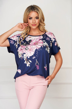 Bluza dama SunShine albastru-inchis eleganta cu croi larg din material subtire cu imprimeuri florale