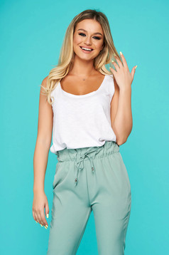 White top shirt casual cotton with rounded cleavage