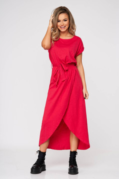 Pink dress nonelastic cotton elastic waist short sleeves
