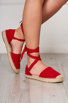 Red espadrilles beach wear low heel faux leather