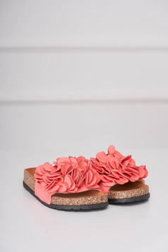 Coral slippers casual from velvet fabric low heel