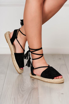 Black espadrilles faux leather beach wear ribbon fastening