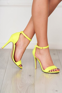 Yellow sandals elegant with thin straps from velvet fabric