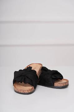 Papuci negri casual din material catifelat cu talpa joasa