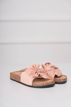 Casual pink slippers from velvet fabric low heel