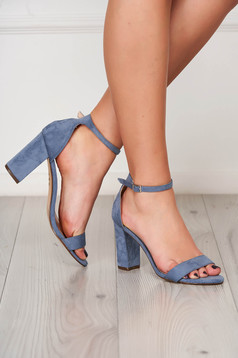 Blue sandals elegant chunky heel from velvet fabric