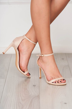 Cream sandals elegant with thin straps from velvet fabric