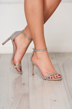 Grey sandals elegant with thin straps from velvet fabric