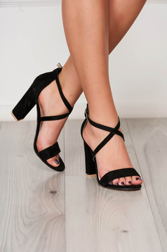 Black sandals with thin straps from ecological leather