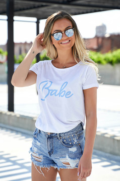 White t-shirt casual flared slightly elastic cotton texted
