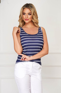 Darkblue top shirt casual flared cotton with stripes with rounded cleavage