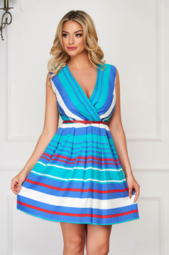 Dress turquoise daily short cut flaring cut nonelastic fabric with stripes