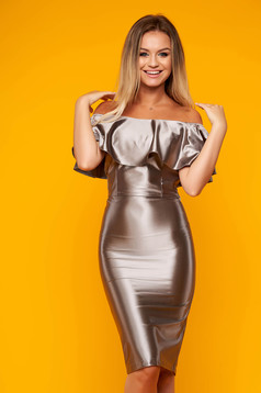 StarShinerS silver set elegant 2 pieces with a skirt from satin with tented cut naked shoulders