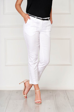 White trousers office cotton conical with pockets