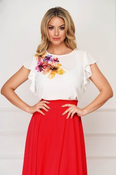 Women`s blouse coral StarShinerS elegant flared from veil fabric