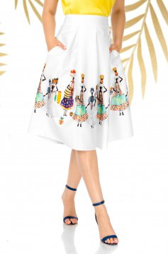 White skirt elegant cloche high waisted non-flexible thin fabric with graphic details