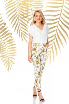 White trousers elegant conical high waisted with floral print