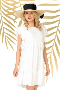 White dress short cut daily flared thin fabric