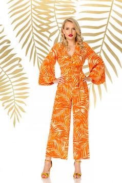 Orange jumpsuit long flared elegant airy fabric with v-neckline