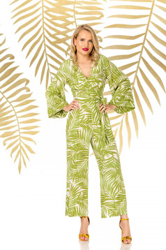 Green jumpsuit long flared elegant airy fabric with v-neckline