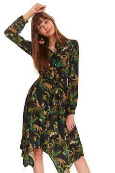 Black dress daily midi asymmetrical long sleeved thin fabric