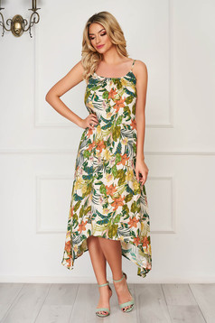 White dress midi daily flared airy fabric with straps asymmetrical