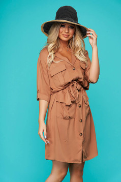 Brown dress short cut daily cloche with pockets thin fabric