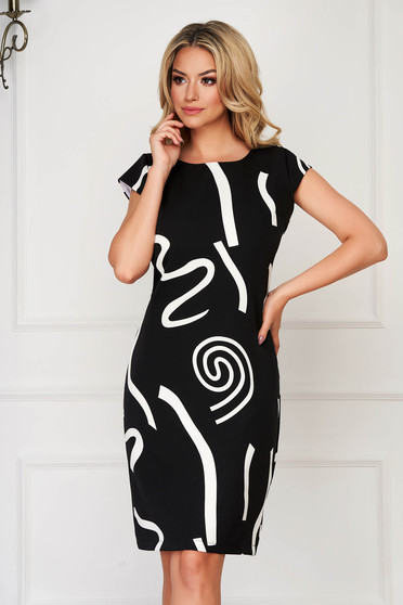 StarShinerS black dress midi daily elegant short sleeves thin fabric
