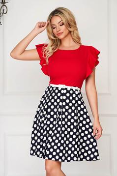StarShinerS red dress short cut elegant cloche thin fabric with ruffled sleeves