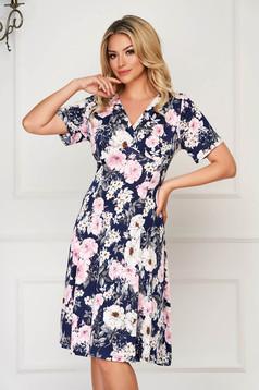 StarShinerS darkblue dress midi daily cloche lycra short sleeves