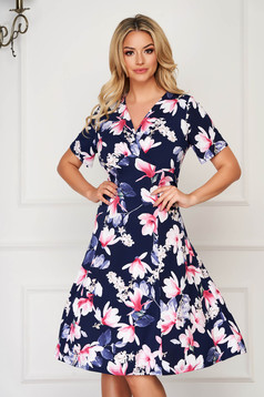 StarShinerS darkblue dress midi daily cloche lycra with floral prints
